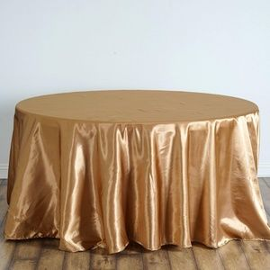 """💛LAST ONE! Fancy Round Satin 120"""" Gold Tablecloth"""